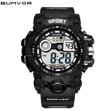 BUMVOR Brand Men Sport Watches Dual Display Analog Digital LED Electronic Quartz Wristwatches Waterproof Swimming Military Watch naviforce men leather band wristwatches multifunction led waterproof dual display quartz analog date digital wrist watch 9128