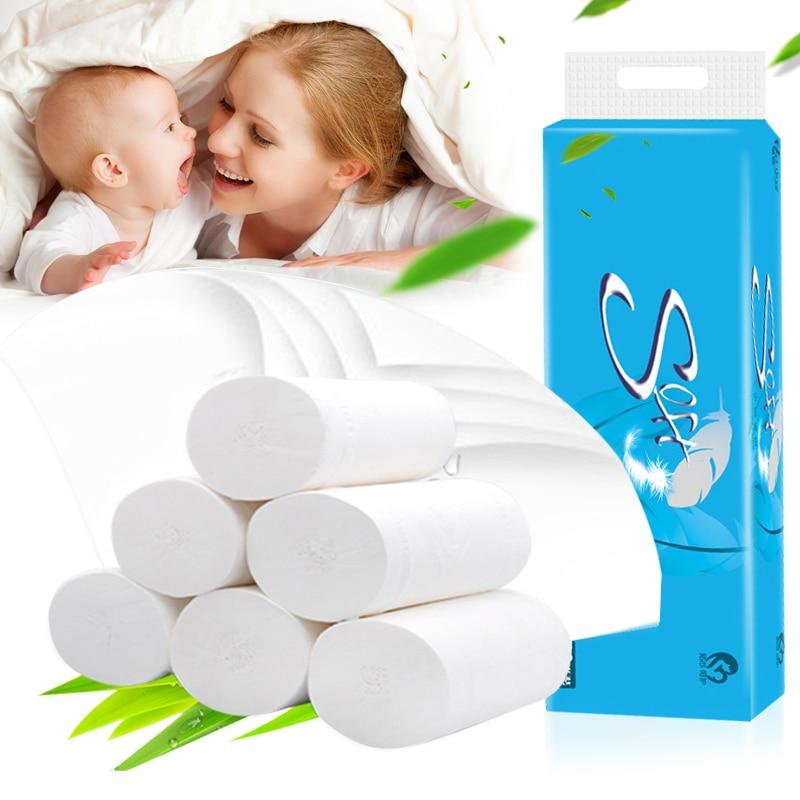 12 Roll Toilet Paper Bulk Roll Bath Tissue Bathroom White Soft 4 Ply For Home TT@88