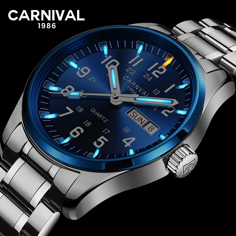 Carnival Mens Wathes Tritium T25 Luminous Double Calendar Quartz Watch Men Luxury Waterproof Wristwatches Relogio Masculino