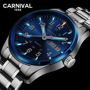 Image 1 - Karnaval erkek saatler trityum T25 aydınlık çift takvim Quartz saat erkekler lüks su geçirmez kol saatleri Relogio Masculino 2020