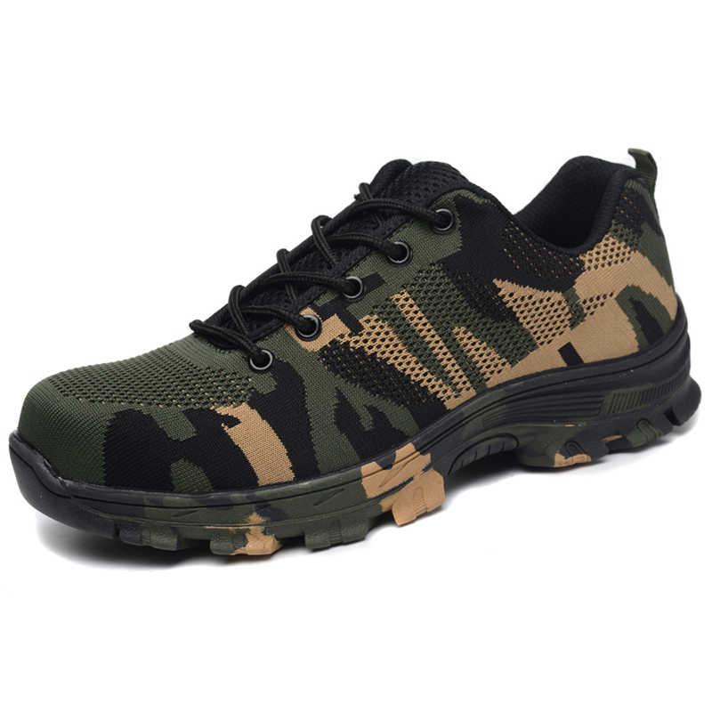 Zapatos de seguridad de camuflaje para hombres zapatos deportivos de verano Zapatos de senderismo zapatos de punta de acero para exteriores botas del ejército antideslizantes zapatillas de montaña