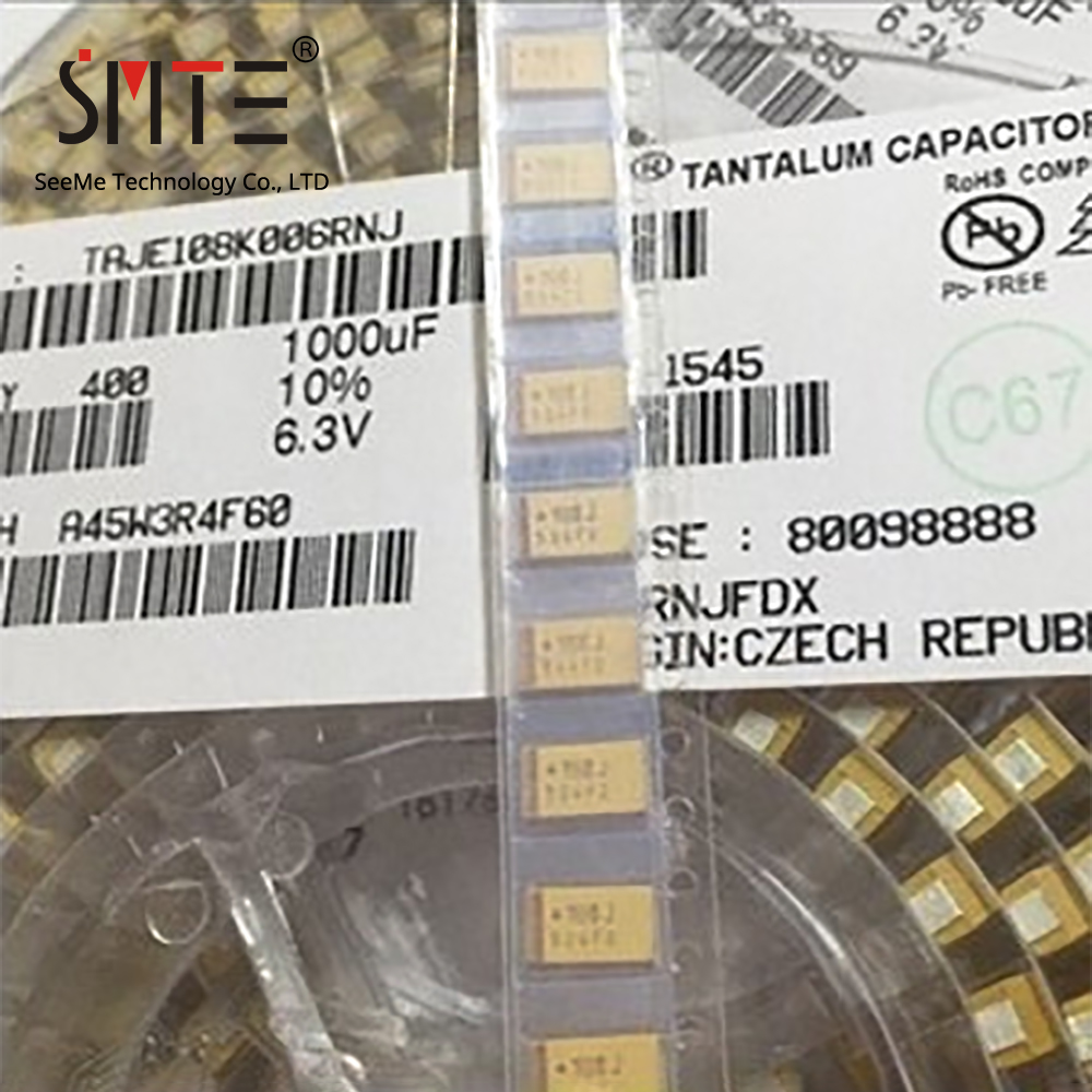 10pcs/lot TAJE108K006RNJ CAP TANT 1000UF 10% 6.3V 2917 1000µF Molded Tantalum Capacitors 6.3V 2917 (7343 Metric) 600mOhm Size E