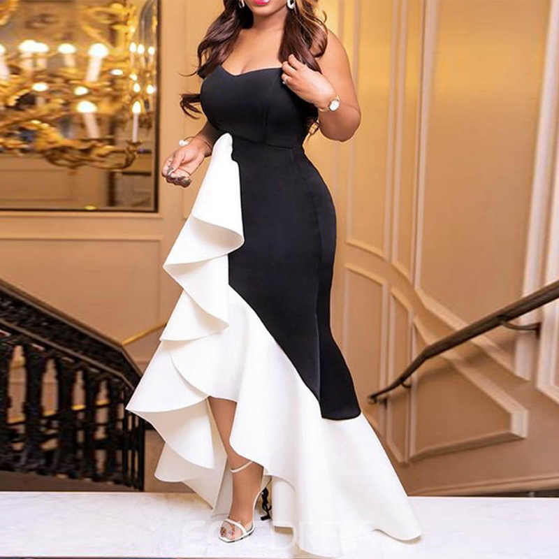 ผู้หญิงยาวชุดเซ็กซี่ Ruffle Patchwork สีดำสีขาวสีแน่น Elegant ฉลองค่ำค่ำ Maxi Bodycon Robe