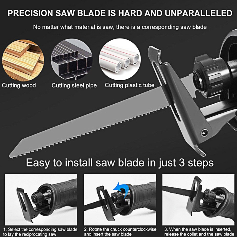 Portable Electric Saw Reciprocating Horse Saw Powerful Wood Metal Plastic Pruning Wood Cutting Blade Woodworking Power Cutter in Saw Blades from Tools