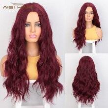 Jestem peruką syntetyczny czerwony czarny ciemny brąz I Ombre peruki blond długa woda fala Cosplay peruki dla kobiet środkowa część naturalne włosy