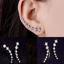 Long Leaf Stud Earrings Simple Retro Metal Dipper Seven Stars Rhinestone Earrings Ladies Party Prom Jewelry Pendant Gifts Sliver(China)