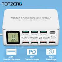 Cargador USB inteligente de 8 puertos TOPZERO 100W carga rápida 3,0 PD 3,0 adaptador de carga rápida LCD estación de carga Multi USB para iPhone X XS