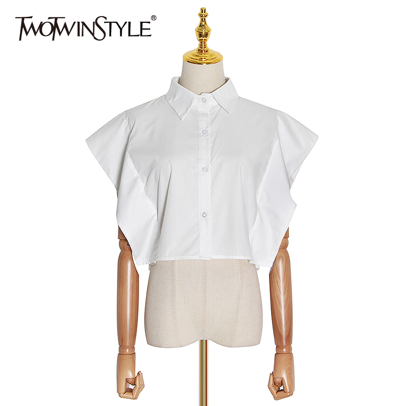 TWOTWINSTYLE Casual Women Blouse Lapel Collar Butterfly Short Sleeve Loose Elegant Shirt For Female Fashion Clothing 2020 Spring
