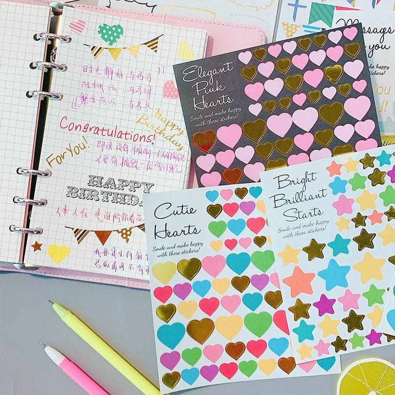 1Sheet Kawaii Heart Star Stickers Cute Stationery Stickers Pentagram Decor Sticker For Kids Girls DIY Scrapbooking Diary Albums