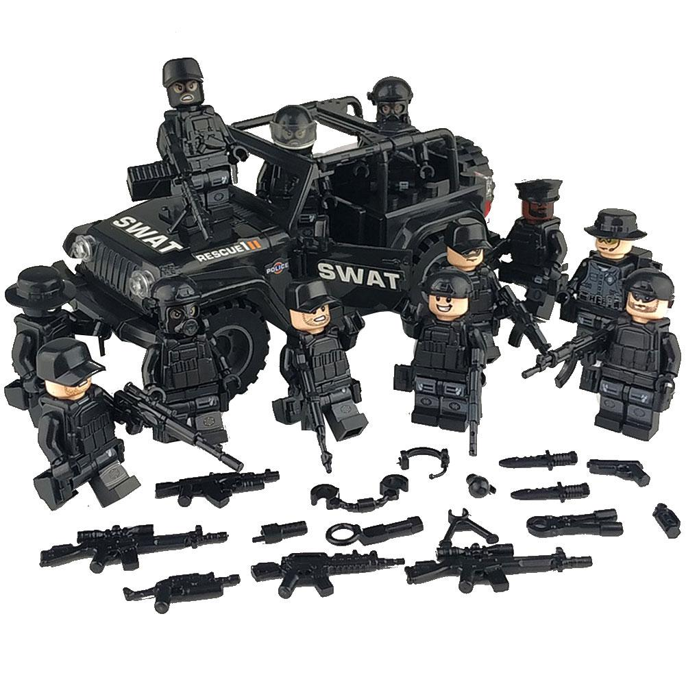 Military Special Forces Soldiers Bricks Figures Guns Weapons Compatible Legoings Armed SWAT Building Blocks Kids Toys Gift