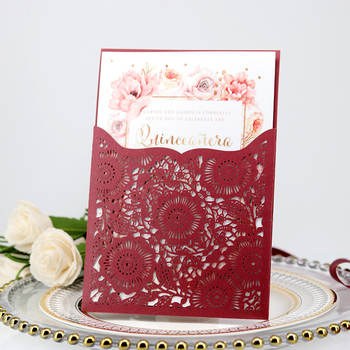 100pcs European Laser Cut Wedding Invitations Card Lace Flower Flora Greeting Cards Customize Birthday Wedding Party Supplies