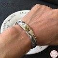 Prata esterlina sólida cor 925 pena manguito pulseira masculino feminino vintage estilo indiano topo moda prata 925 jóias masculinas