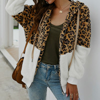Plus Size Autumn Women Sweatshirts Teddy Style Fleece Warm Hoodies Leopard Printed Hooded Pullovers Tops Winter Pockets Zip S032