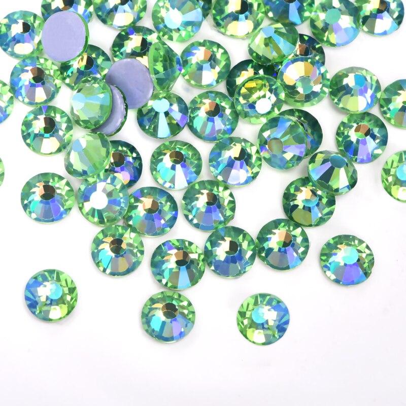 Lt Peridot AB лучший кристалл DMC стразы исправление стразы зеленый AB железо на горячей фиксации стразы мотив страз на Рождество F0290