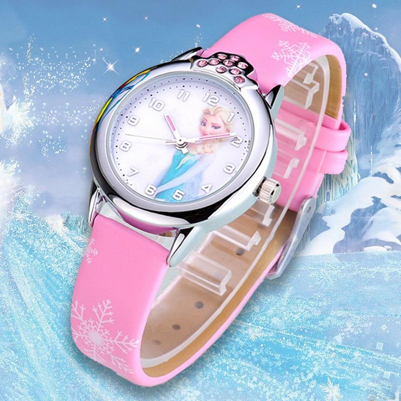 Relogio Infantil Kids Watches Girls Princess Elsa Cartoon Watch Children Lovely Leather Wristwatches Gifts Clock Montre Enfant