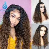 SMD 13*6 Ombre Brown Color Lace Front Wigs with Baby Hair Brazilian Remy Curly Human Hair Curly Glueless Lace Wigs Pre Plucked