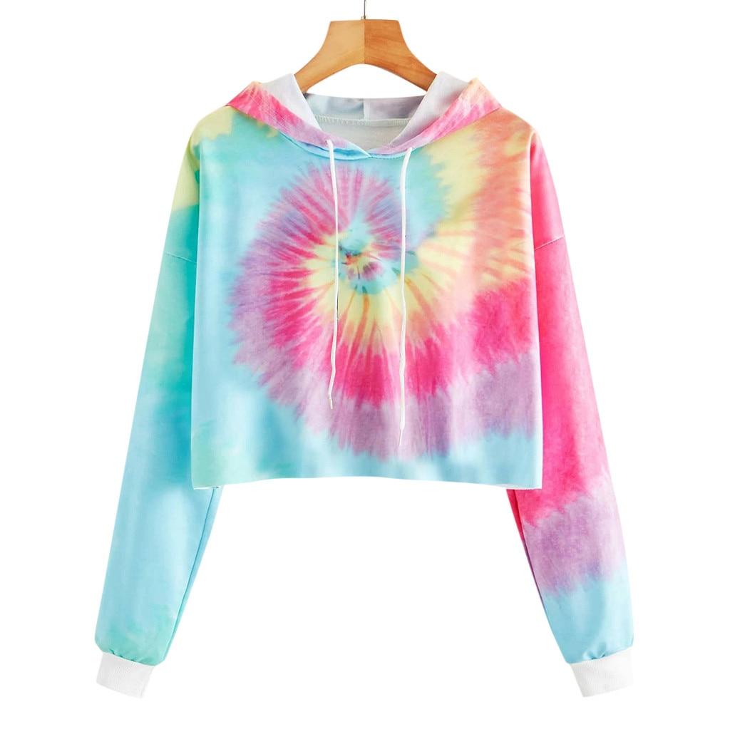 Mode Tie-dye Hoodies Sweatshirts Frauen Mädchen Casual Langarm Kurze Kapuze Sweatshirt Harajuku Top Bluse Hoody Sudaderas