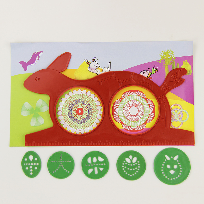 Hot Magic Turtle Rabbit Sketchpad Spirograph Drawing Kids Gift Educational Office Stationery Ruler 1 PC