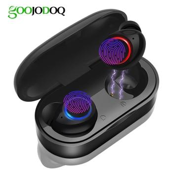 GOOJODOQ Waterproof TWS V5.0 Mini Wireless Headphones Touch Control Bluetooth Earphone Bluetooth Earbuds for Xiaomi Running