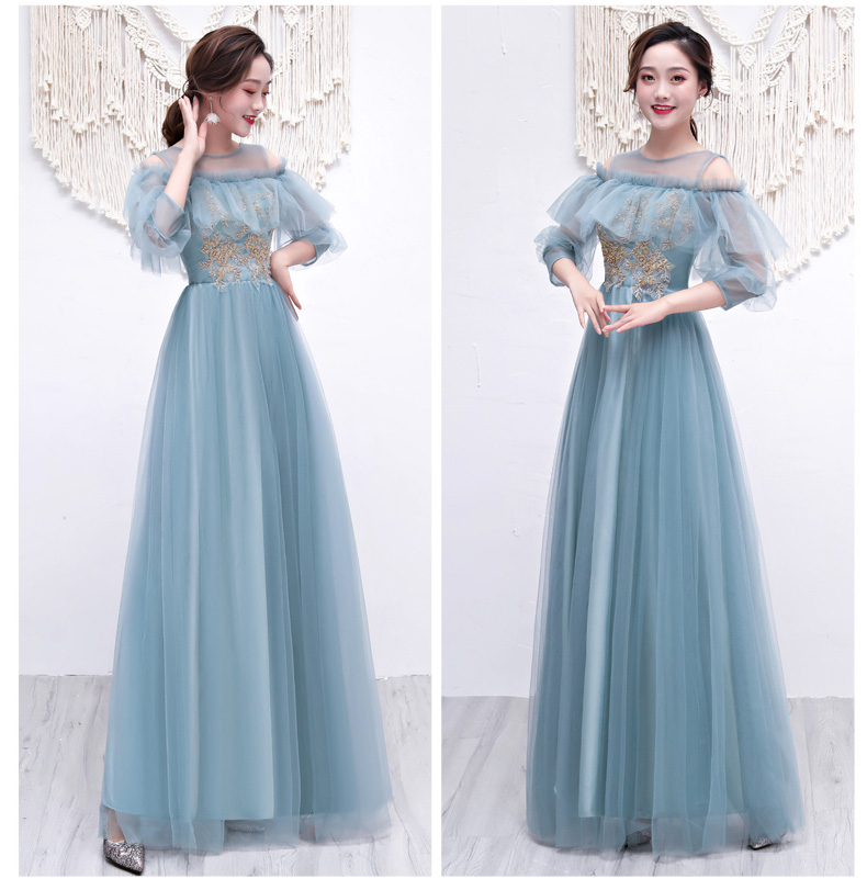 Ruffles Elegant Dress Women For Wedding Party Gray Green Bridesmaid Dresses Sister Vestido Azul Marino Sexy Dress Prom Sister