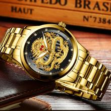 FNGEEN Top Brand Luxury Gold Men No Mechanical Watch 3d Cnc Life Waterproof Dragon Face Full Solid Watches Wristwatch Dropshippi