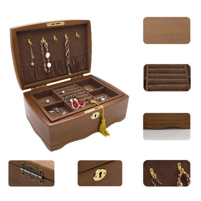 Hot Wooden Jewelry Organizer Box With With Lock Double Layer Jewellery Storage Cases Women Rings Necklace