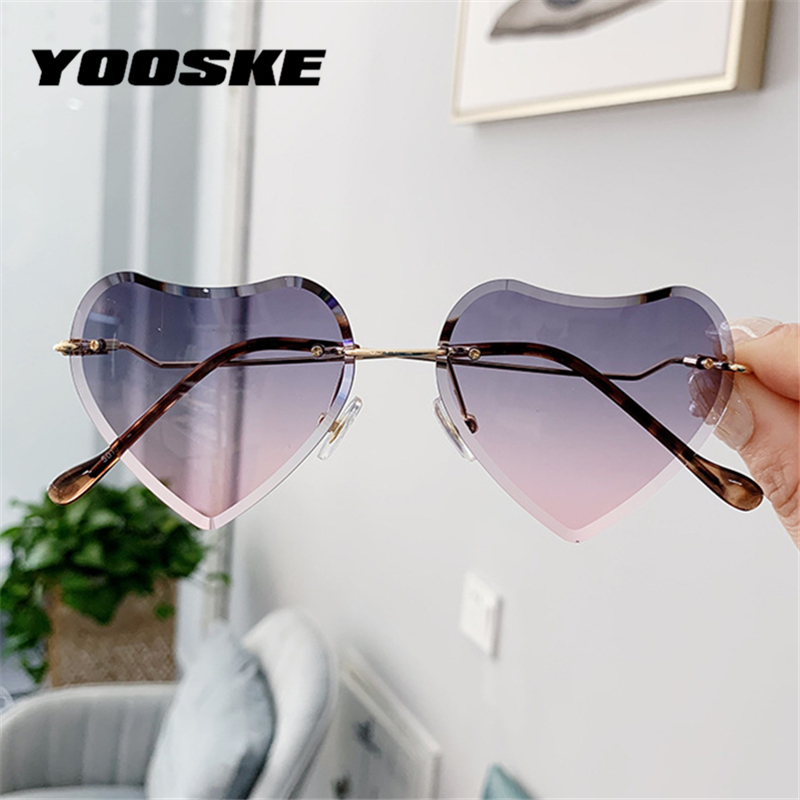 YOOSKE Kids Heart Shaped Sunglasses Girls Fashion Rimless Sun Glasses Children Clear Gradient Sunglass Shades UV400