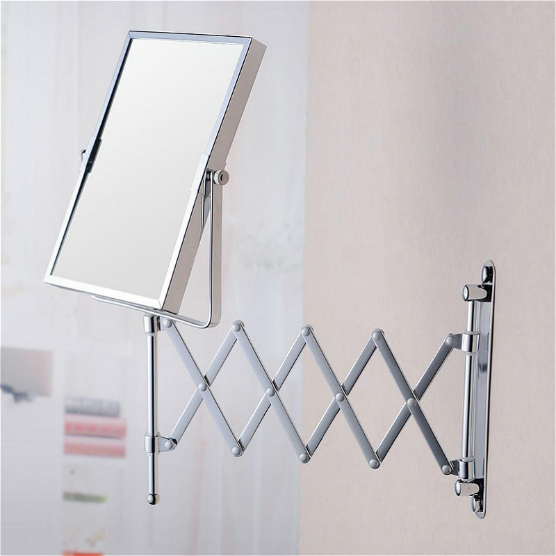 Mirror Cosmetic Shaving Adjustable Bathroom Magnification Extend Wall-Mounted Double-Side