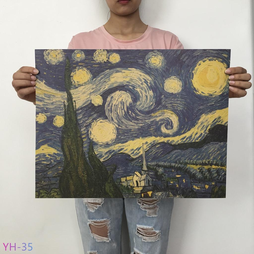 Плакат маслом Ван Гога Мона, Винтажный Классический крафт-бумага, плакат, живопись, наклейки на стену, домашний декоративный YH-31-42 - Цвет: YH-35
