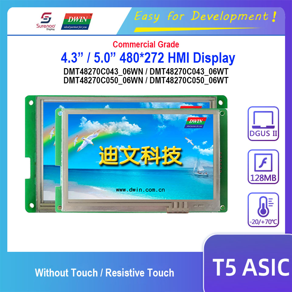 Dwin T5 HMI Display, DMT48270C043_06W / DMT48270C050_06W 4.3 5.0 480X272 LCD Module Screen Resistive Touch Panel image