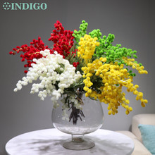 INDIGO - 5 PCS Yellow Australia Mimosa Cherry Table Artificial Flower Wedding Christmas Party Event Decor Free Shipping