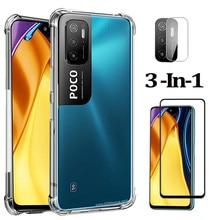 Silicone cover per Xiaomi Poco m3 Pro 5G cover + vetro per Poko M3 F3 Poco X3 pro Cover posteriore antiurto pocco m3 pro 5g custodia Poco m3 Pro 5G