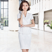 Professional suit commuter beauty salon Plastic reception desk worker's suit consultant white suit