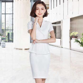 Professional suit commuter beauty salon Plastic reception desk worker\'s suit consultant white suit - DISCOUNT ITEM  15 OFF All Category