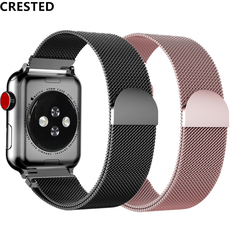 Milanese Loop Strap For Apple Watch Band 44 Mm 42mm Correa Watchband Link Bracelet Pulseira Apple Watch 5 4 3 Iwatch 38mm/40mm