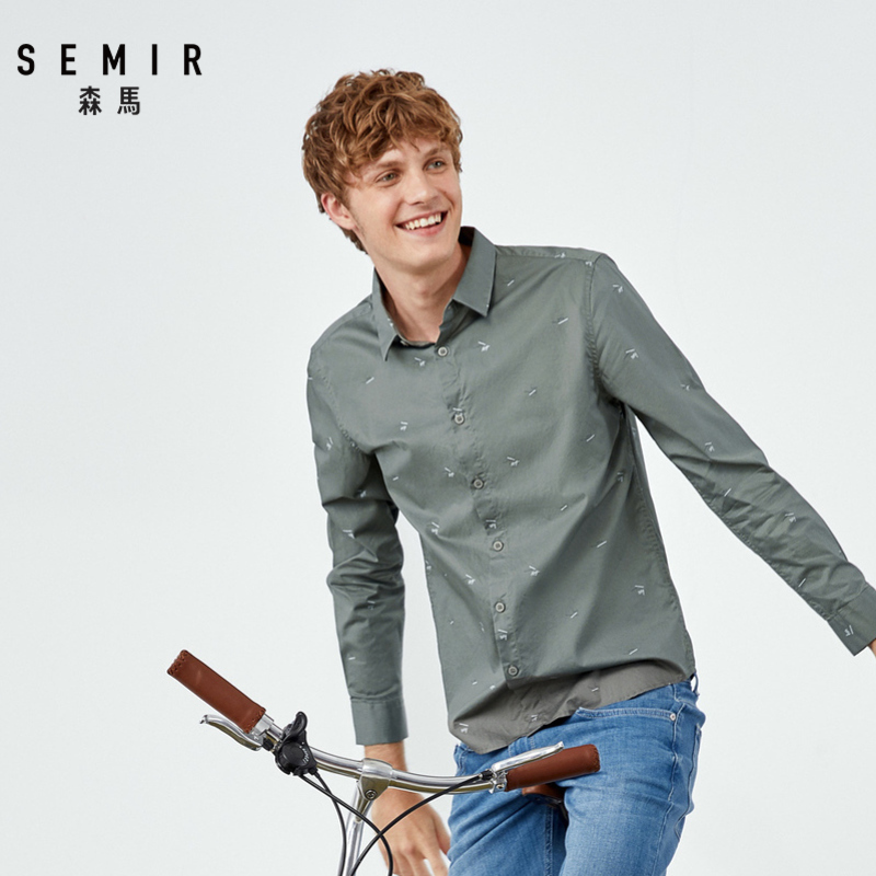 Semir Fashion New Long Sleeve Shirt Men 2019 Contrast Color Letter Printing Shirts Ins Super Fire Shirt Handsome Man