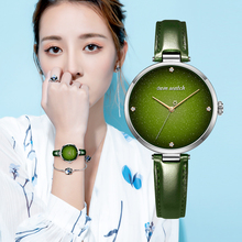 DOM Top Luxury Fashion Female Quartz Wrist Watch Elegant Green Women Watches Leather Waterproof Clock Girl Pattern Watch G 1292