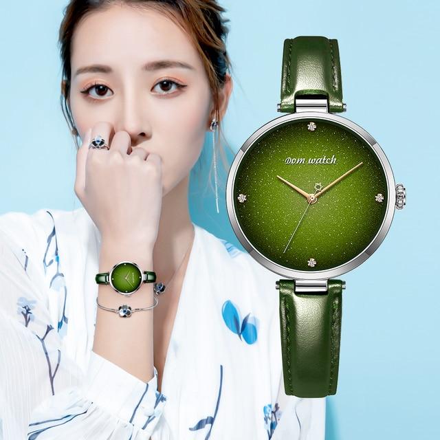 DOM Top Luxury Fashion Female Quartz Wrist Watch Elegant Green Women Watches Leather Waterproof Clock Girl Pattern Watch G 1292
