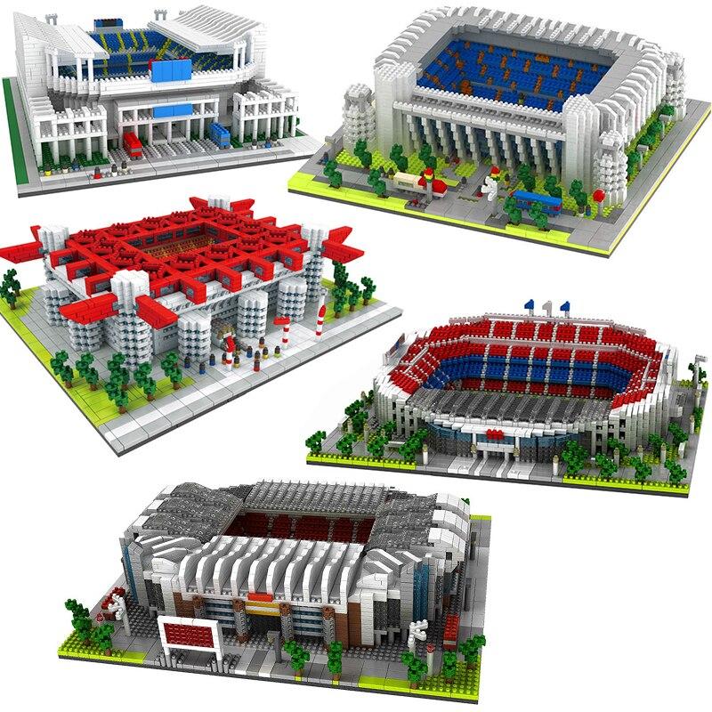 Famous Football Stadium Soccer Field Model Building Block Architecture City Street Spain Madrid England Toys Gift