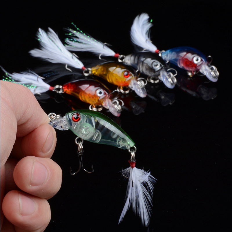 KASSYAA Sinking Fishing Lures Crankbaits 45mm 4g Hard Fish Bait Artificial Wobblers Minnow 10 Feather Hook For Fishing in Fishing Lures from Sports Entertainment