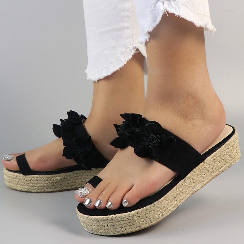 Women Platform Sandals Female Summer Shoes 2020 Flip Flop Slip On Clip Toe Beach Sandals Chaussures Femme Floral Sandals