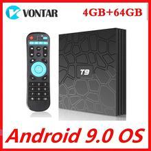 Caixa superior ajustada 9.0g/5g dupla wifi media player t9 tvbox 2g16g caixa esperta da tevê android 2.4 rk3318 4gb ram 64gb rom quadcore 4k
