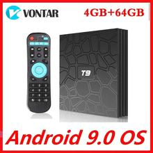 스마트 TV 박스 안드로이드 9.0 RK3318 4 기가 바이트 RAM 64 기가 바이트 ROM 쿼드 코어 4K 셋톱 박스 2.4G/5G 듀얼 와이파이 미디어 플레이어 T9 TVBOX 2G16G