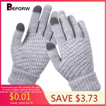 BEFORW 2019 Winter Touch Screen Gloves For Women Men Warm Stretch knitted Mittens Imitation Wool Full Finger Black White Gloves gloves knitted women touch screen 2019 new winter soft rabbit wool knitted gloves warm lovely girls pink heart mittens gloves