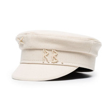 2021 New Spring Newsboy Caps Women Hand-stitched Pearl Cotton Flat Cap Navy Style Beret Octagonal Hat