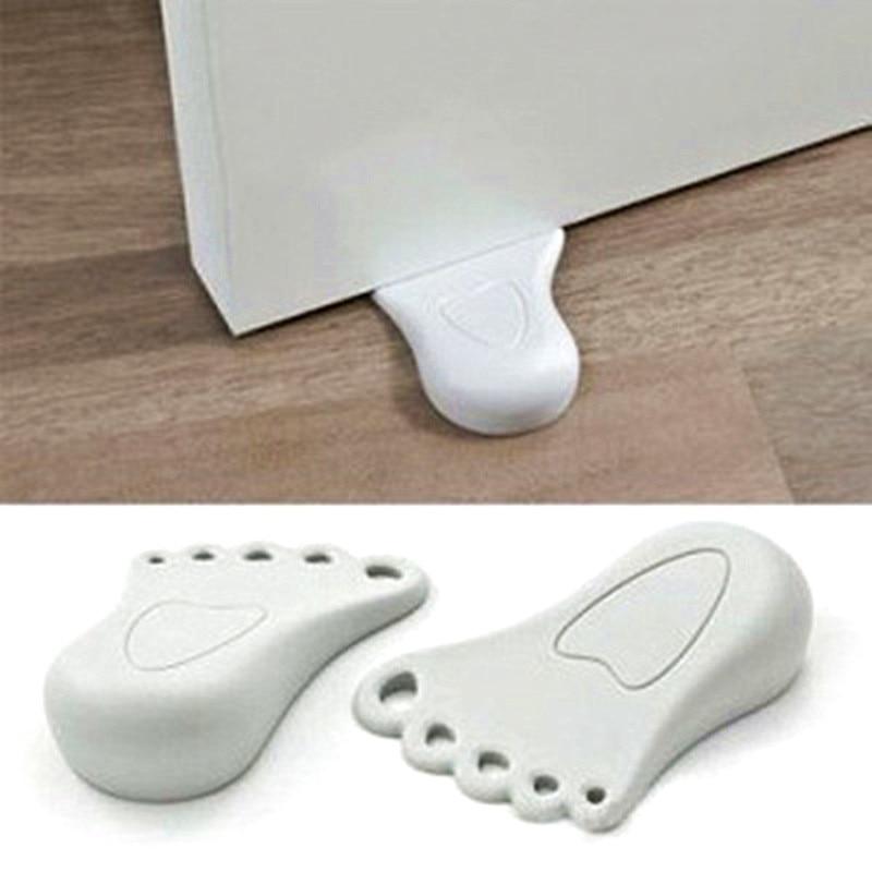 Practical Kid Cute Foot Shape Finger Safety Door Stopper Silicone Home Office Stops Protector Wedge Door Catcher Block