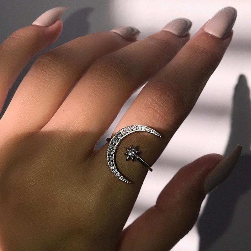 Mossovy Exaggerated Zircon Crescent Star Open Engagement Ring for Female Fashion Popular Rhinestone Wedding Rings for Women