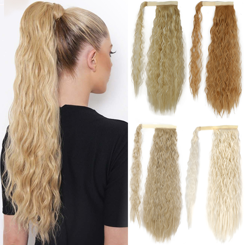 XINRAN Wrap Around Clip In Ponytail Corn Curly Long Fake Hair Pieces Extensions for Women Synthetic Hair Extension 1