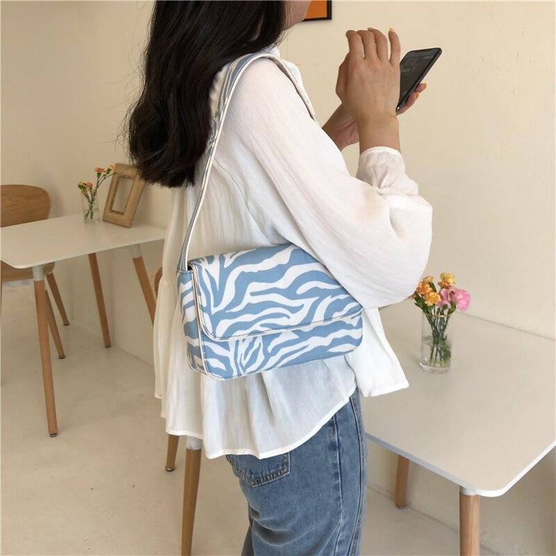 Винтажный дизайн, женские холщовые сумки багеты, синие сумки на плечо с принтом зебры, Модный женский маленький клатч кошелек|Сумки с ручками|   | АлиЭкспресс - Аналоги сумок с показов мод осень-зима 2020/21