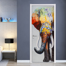 Самоклеющиеся 3d двери Стикеры домашний декор цвет слон водонепроницаемый обои печать картина стены искусства обновления для гостиной